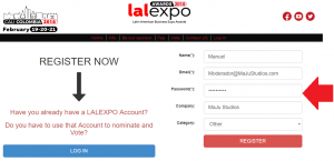 Registrarse a los Awards Lalexpo 2018 register account
