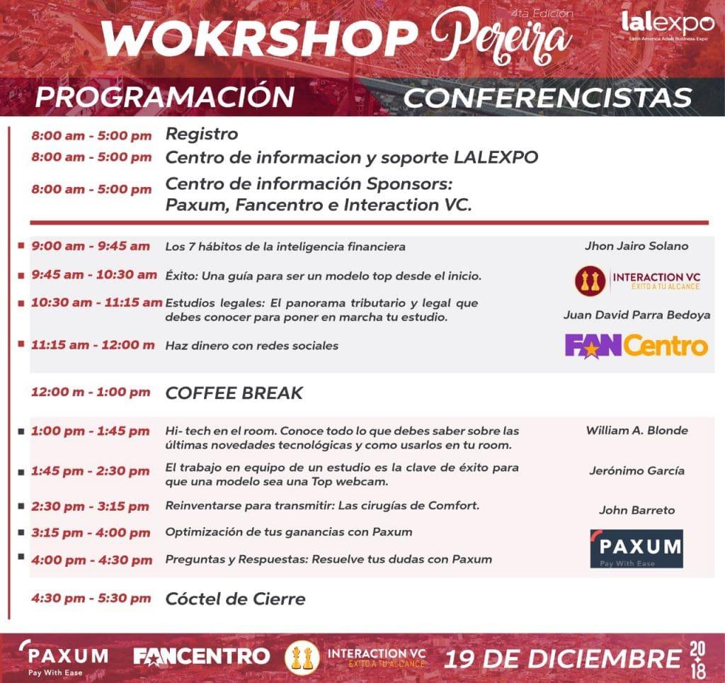 Lalexpo anuncia su Workshop Pereira 2018